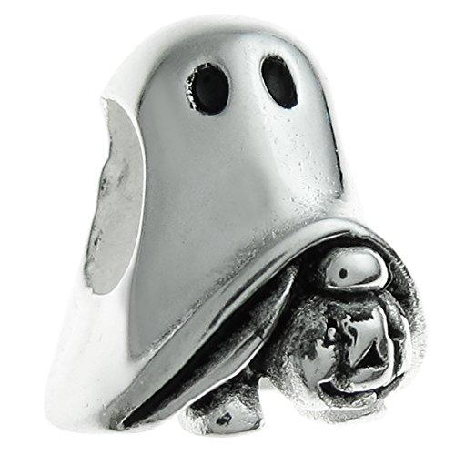 (Sterling Silver Halloween Ghost Pumpkin European Style Bead)