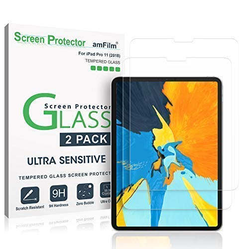 amFilm Glass Screen Protector for iPad Pro 11 inch (2 Pack), Tempered Glass, Ultra Sensitive, Face ID and Apple Pencil Compatible