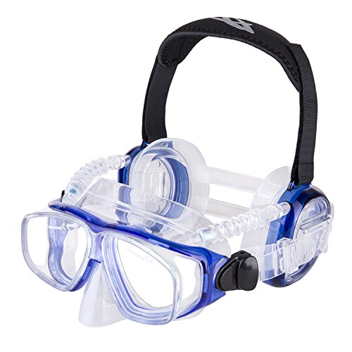 IST ProEar Dive Mask with Ear Covers, Scuba Diving Pressure Equalization Gear, Tempered Glass Twin Lens ()