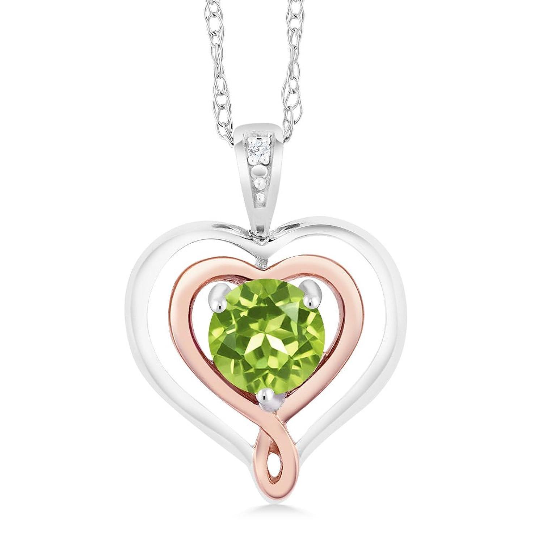 Peridot & Diamond Accent 925 Sterling Silver & 10K Rose Gold Heart Shape Pendant Necklace