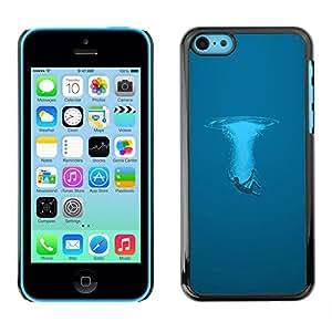 Azul Splash - Metal de aluminio y de plástico duro Caja del teléfono - Negro - iPhone 5C