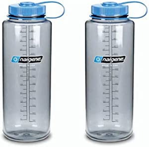 Nalgene Silo 48oz Tritan Grey W/Blue Top Wide Mouth Bottle, 2 Bottle Pack, 11.3 Inches Tall by 3.5 Inches in Diameter