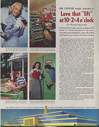 Love that lift at 10-2 & 4 o'clock Dr Pepper calendar girl Gilfillan ad 1949 from The Jumping Frog