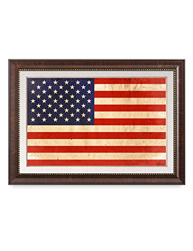 DecorArts - American Flag. Giclee Print& Brown Framed Art for Wall Decor. 24x16