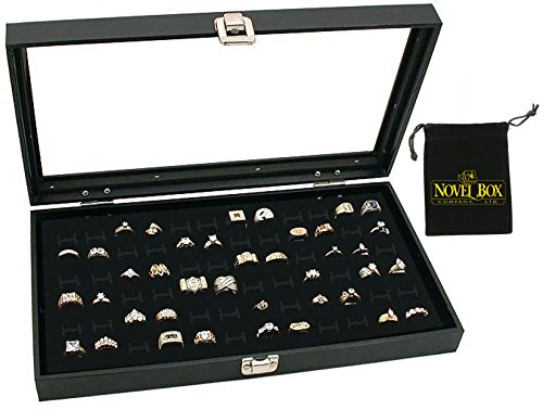 Novel Box Glass Top Black Jewelry Display Case 72 Slot Compartment Ring Tray + Custom NB Pouch ()