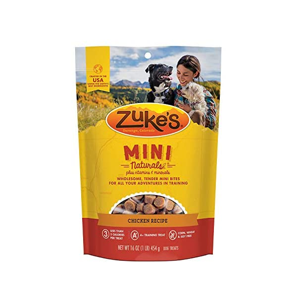 Zuke's Natural Training Dog Treats; Mini Naturals Recipe; Made in USA Facilities 1