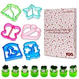 Sandwich Cutters for Kids – LEEFE Vegetable Cutters 14pcs Set of 6 Toast Cutter/Cookie Cutters/Bread Cutters and 8 Stainless Steel Fruit and Vegetable Cutters, BPA Free