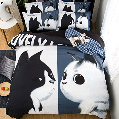 Amazing White and Black Cat Kiss Cotton Microfiber 3pc 90''x90'' Bedding Quilt Duvet Cover Sets 2 Pillow Cases Queen Size by DIY Duvetcover