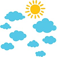 DECOWALL DWG-707SBY Sun and Clouds Graphic Kids Wall Stickers Wall Decals Window Stickers Peel and Stick Wall Stickers…