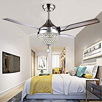 Rs Lighting Unique Crystal Ceiling Fan And Light With