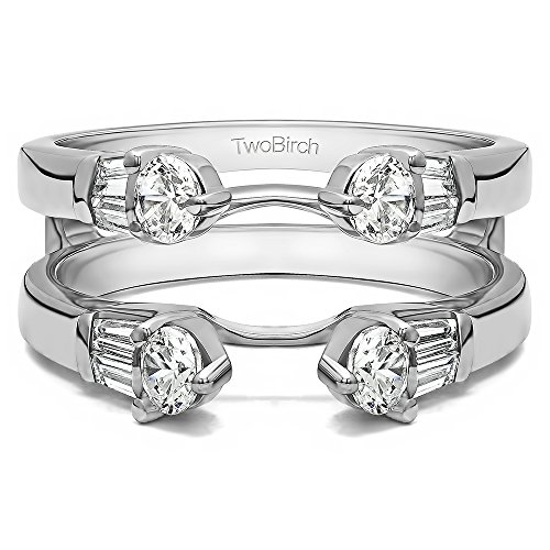 0.8 ct. CZ Three Stone Cathedral Ring Guard in 10k White Gold (3/4 ct) (Size 3 to 15 in 1/4 Sizes) 3/4 Carat Round Cut Cathedral