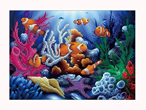 Nesix DIY Diamond Painting, the Tropical Fish by 5D Embroidery Paintings Rhinestone Pasted Full Drill Diamond Painting Cross Stitch Art Crafts Home Wall Decor (A) Tropical Fish Embroidery
