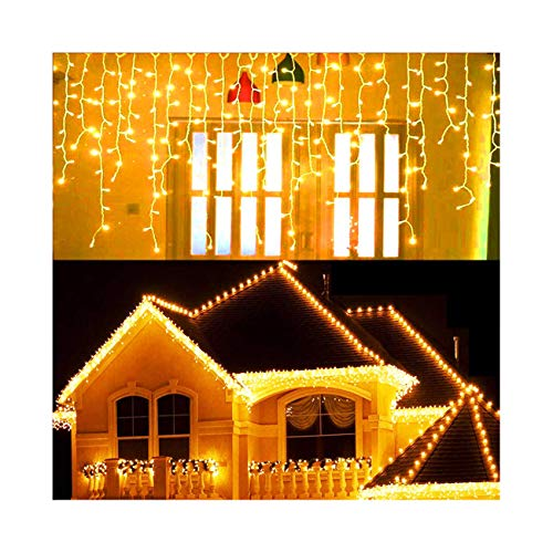 Hezbjiti 8 Modes LED Icicle Lights,96 LED 18 Drops 9 FT Fairy String Lights Plug in Extendable Curtain Light String Christmas Lights for Bedroom Patio Yard Garden Wedding Party (Warm White)