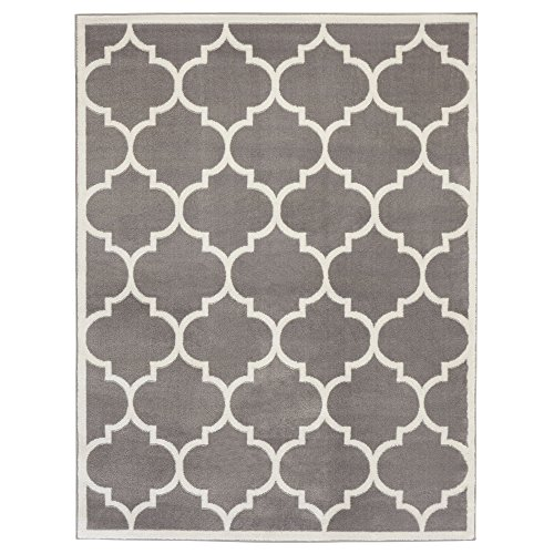 Ottomanson Paterson Collection Grey Contemporary Moroccan Trellis Design (5'x7') Lattice Area Rug