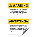 CGSignLab | ''Proposition 65 -Bilingual Warning Sign'' Heavy-Duty Industrial Self-Adhesive Aluminum Wall Decal (5-Pack) | 24''x36''