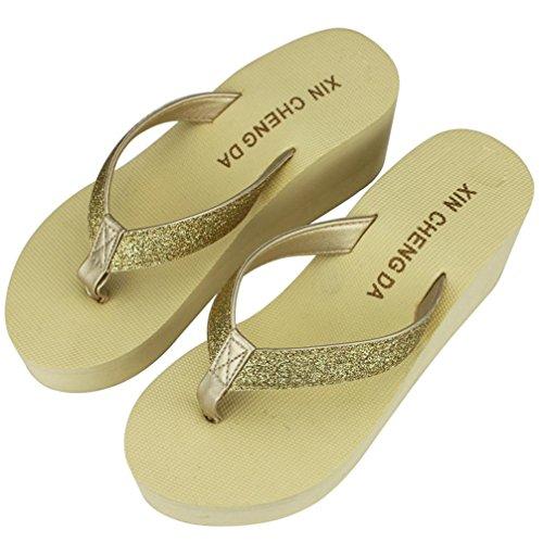 Inkach Slippers Sandalen - Fashion Dames Platform String Sandalen Strand Slippers Schoenen Beige