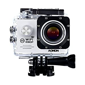 Aokon WiFi Action Underwater Camera SJ7000 1080P 12M HD Sports Waterproof Helmet Motorcycle Cam with 170 Wide Angle Lens 2.0 LCD 4X Zoom 2 Batteries and 19 Accessories Kit (White)