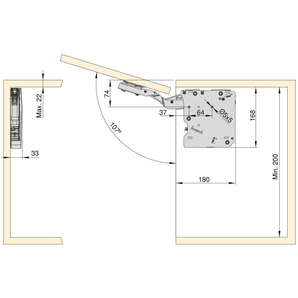 Emuca Compas pour Portes relevables Agile M Couleur Blanc
