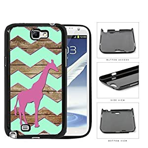 Dark Pink Color Giraffe on Mint Chevron and Brown Wood Pattern Samsung Galaxy Note II 2 N7100 Hard Snap on Plastic Cell Phone Cover
