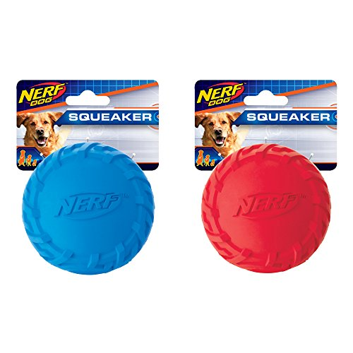 Nerf Dog (2-Pack) Tire Squeak Ball Dog Toy, Red/Blue, Medium