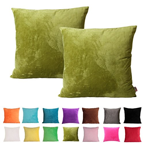 Queenie - 2 Pcs Solid Color Chenille Series II Decorative Pillowcase Cushion Cover for Sofa Throw Pillow Case Available In Various Sizes And Colors (19.75 x 19.75 inch (50 x (Olive Green Chenille)