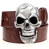 Nicholas Wit Men's Belt Big Skull Belt Metal Buckle Skull Belts Skeleton Rock Belt Performance Hip Hop Girdle Brown
