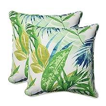 "Pillow Perfect Outdoor/Indoor Soleil Throw Pillow (Set of 2), 18.5"", Blue/Green"