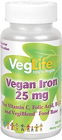 VegLife Vegan Iron 25 mg | Plus Vitamin C, Folic Acid, B-12 and VegiBlend Food Base | Plant Based Iron Supplement for Women & Men | 100 Tablets
