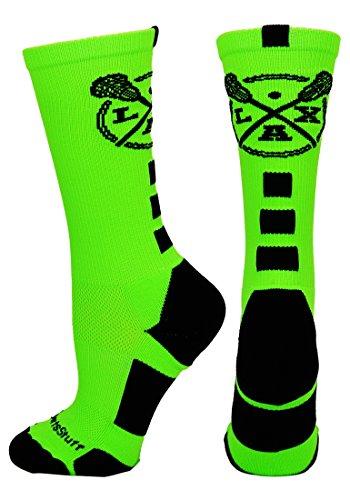 MadSportsStuff LAX Lacrosse Socks with Lacrosse Sticks Athletic Crew Socks (Neon Green/Black, Large)