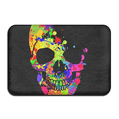 Homlife Rectangle Thin Doormats Colorful Skull Art Life Entrance Mat Non-Slip Indoor Outdoor Area Rug Bathroom Mats Coral Fleece Home Decor by Homlife