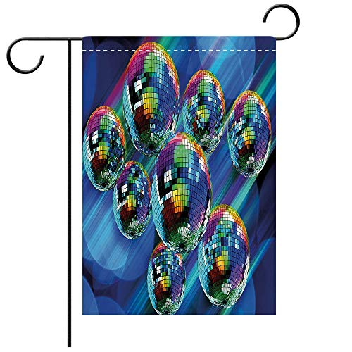 Custom Personalized Garden flag Outdoor flag 70s Party Decorations Colorful Funky Vibrant Disco Balls Abstract Night Club Dancing Theme Decorative Multicolor Best for Party Yard and Home Outdoor -