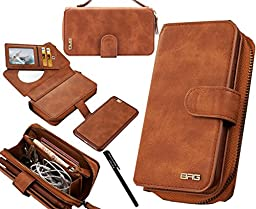 Urvoix iPhone 6 / iPhone 6S Case, Premium Leather Zipper Wallet Multi-functional Handbag Detachable Removable Magnetic Case with Flip Card Holder Cover for iPhone6/6S (4.7\