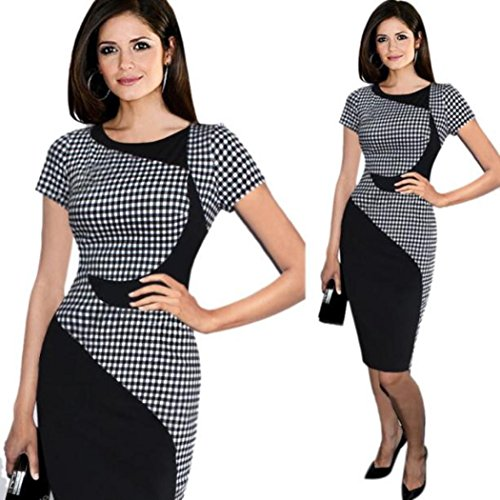 [Hunputa Vintage 80s' Womens Ladies Check Long Sleeve Sexy Dress Office Bodycon Dresses Club Midi Dress] (1980s Dress)