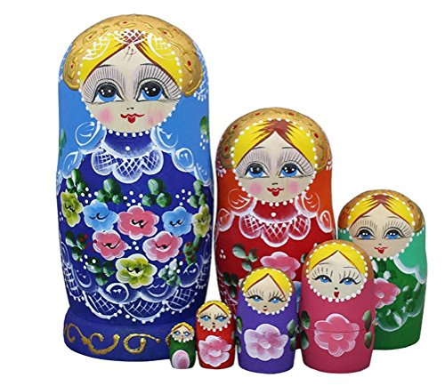 Lovely Blue Blonde Little Girl With Flower Pattern Handmade Wooden Russian Nesting Dolls Matryoshka Dolls Set 7 Pieces For Kids Toy Birthday Christmas Gift Home Decoration by Winterworm