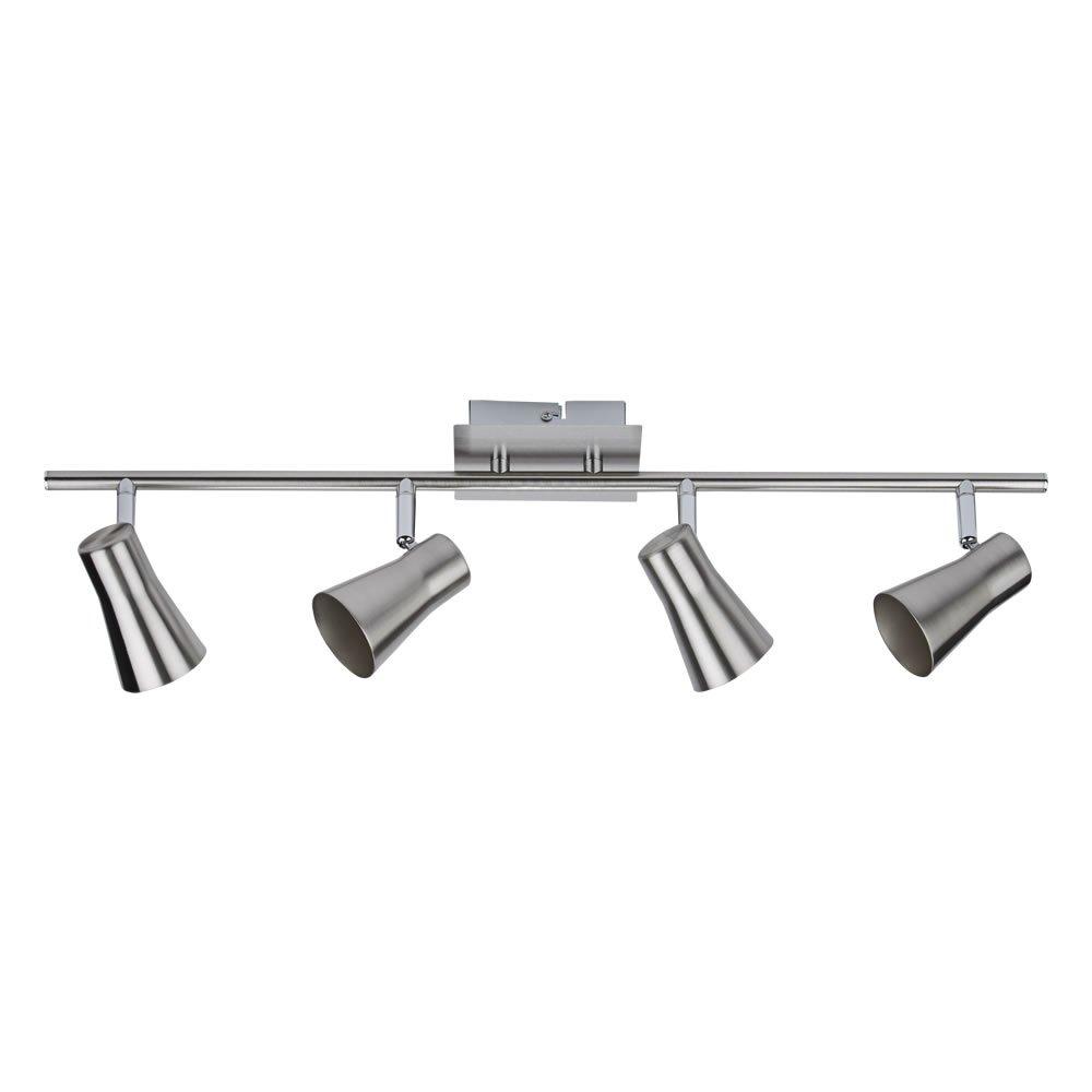 Biard Manhattan 4 Way Adjustable Spotlight Bar Ceiling Light Fitting GU10 Satin Nickel (LED Compatible) - Bedroom, Living or Dining Room
