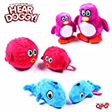 Hear Doggy X3 Set of 3 Dog Toys Blowfish, Whale, Penguin Small Size Ultrasonic Squeak Toys Only Your Dog Can Hear, My Pet Supplies