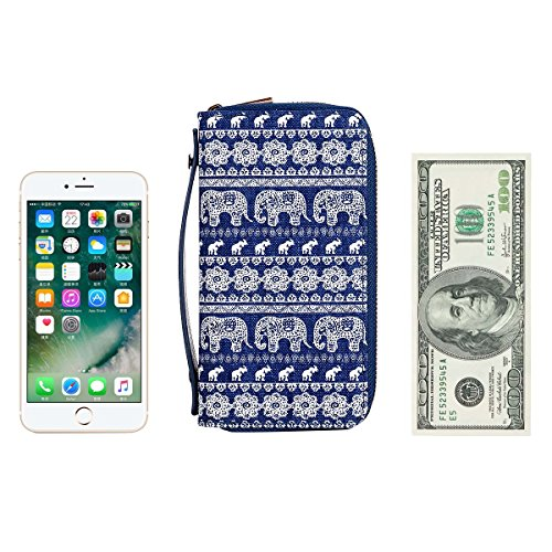 for Wallet Purse Big Coin Smart for Woman Long HAWEE Dual Elephant Cash Clutch With Premium PU Phone Size Card Strap Zippered wBIzgzxq