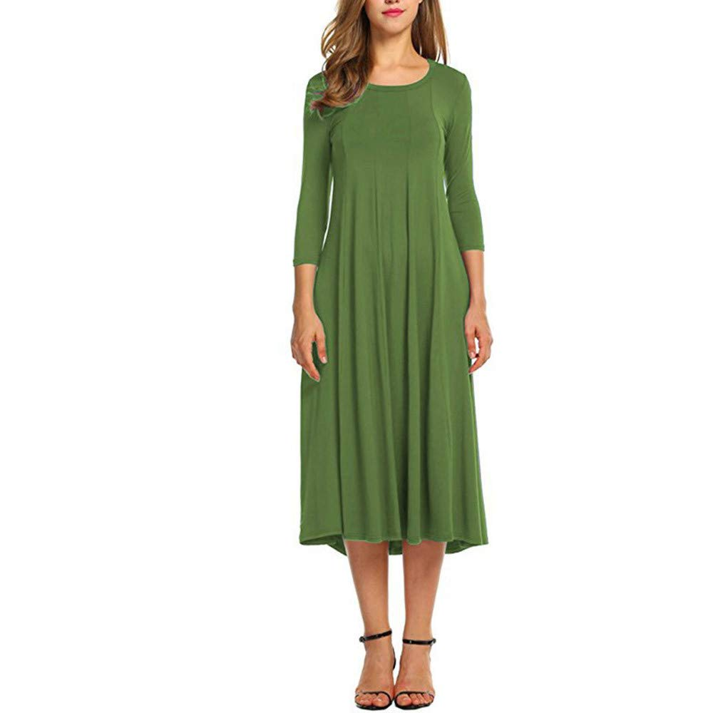 Kaitobe Women's Dresses Ruched Half Sleeve Loose Maxi Dresses Swing A-Line Dress Beach Sundress Evening Party Cocktail Army Green