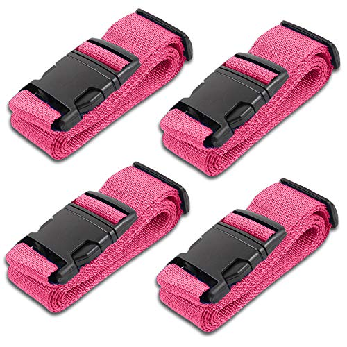 Pink Luggage Belts Suitcase Straps Adjustable and Durable, Travel Case Accessories, 4 Pack (Suitcase Hot Pink)