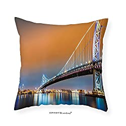 VROSELV Custom Cotton Linen Pillowcase Apartment Decor Collection Ben Franklin Bridge And Philadelphia Skyline Viewed From Camden Across The Delaware River Bedroom Living Room Dorm 12x12