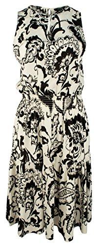 (Ralph Lauren Women's Black White Paisley Print Dress-PB-1X)