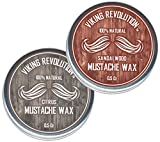 Mustache Wax 2 Pack - Beard & Moustache Wax for Men - Strong Hold Helps Train Tame & Style - Citrus & Sandalwood Scents- 0.5oz each