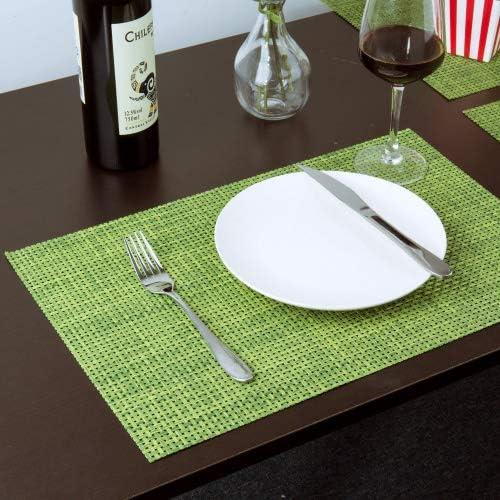 Meersee Set de table lavables Vert PVC Placemats Dining Table Sets R/ésistant /à la Chaleur antid/érapant Napperons de taille standard Lot de 6 vert
