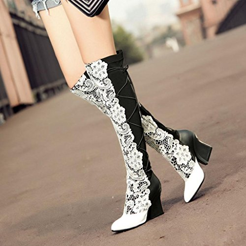 Flowers Boots High Over Shoes Fashion Boots Wedding Party Knee High Lace Size Heels Large Boots Knight Women Boots Kitzen Thigh White Ladies High x4q4PZ