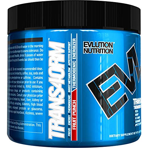 Evlution Nutrition Trans4orm Thermogenic Energizing Fat Burner Supplement, Increase Weight Loss, Energy and Intense Focus (30 Serving Fruit Punch Powder)