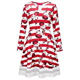 Office Products : Charberry Christmas Dress, Women Christmas Printed Long Sleeve Mini Lace Dress (XXL, Red C)