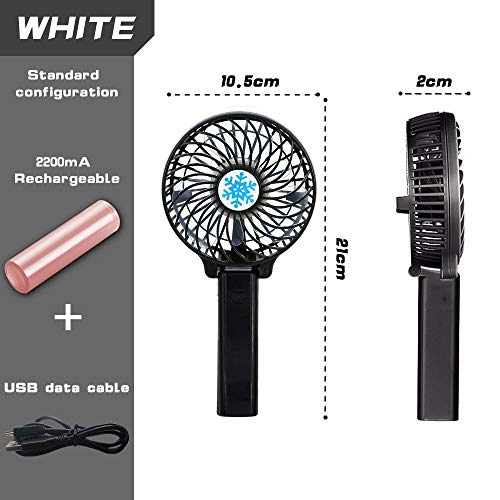 Black Electric Desktop Air Fan for Travel Outdoor Activity Mini Portable Fan with LED Light Office LEEMOON Collapsible Personal Fan USB Rechargeable Battery Lightweight Handheld Cooling Fan