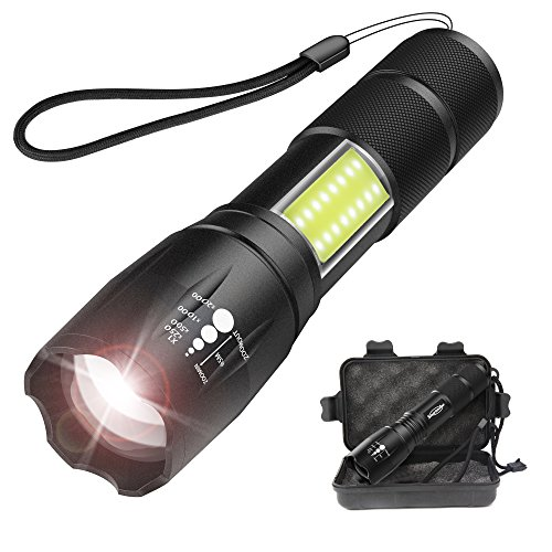 Tactical 1000 Lumens LED Flashlight with COB Light – Portable, Zoomable, Water & Shock Resistant, CREE T6 LED Handheld Light with 4 Modes – Super Bright Torch for Outdoors, Home and Emergency (Black)