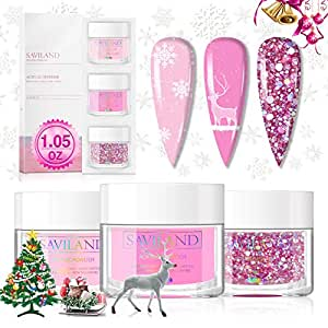 Saviland Acrylic Powder Set - Acrylic Nail Powder 3 Color Glitter Pink Professional Polymer Powder System for Nail Extension and Decoration 3D Manicure at Home Salon