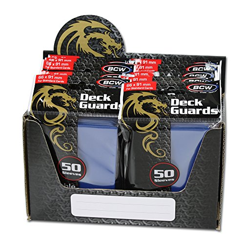 BCW 500 Count Deck Guard BLUE MATTE Finish for Stardard Size Collectable Cards - Deck Protector Sleeves [Display Bundle - 10 - Sleeves 500